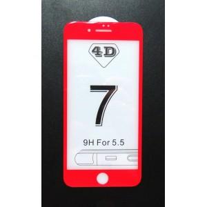 Стекло iPhone 7+ 4D (red)