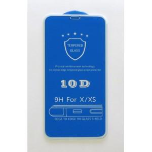 Стекло iPhone X/XS 10D (white)