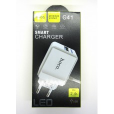 СЗУ hoco smart charger 2.4A C41 (white)