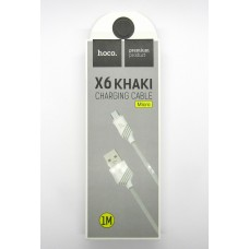 Data cable hoco premium X-6 micro USB (white)