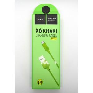 Data cable hoco premium X-6 micro USB (green)