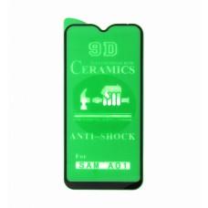 Стекло Ceramics Samsung A01 9D (black)