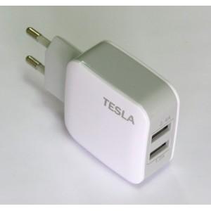 СЗУ блочек Tesla + кабель micro-USB (white)