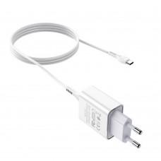 СЗУ блочек+кабель TYPE-C Hoco С81A оригинал (white)
