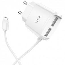 СЗУ блочек+кабель iPhone Hoco С59A оригинал (white)