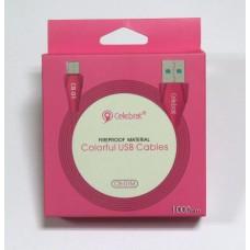Data Cable Celebrat CB-01 micro-USB (pink)
