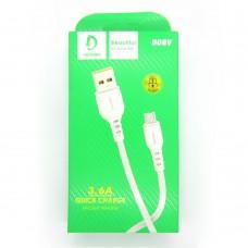 Data cable Denmen D08V micro-USB (white)