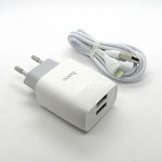 СЗУ блочек+кабель iPhone Hoco С73A оригинал (white)