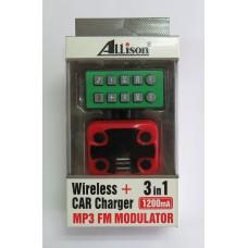 FM-модулятор ALLISON 3 in1 A664 (black-red)