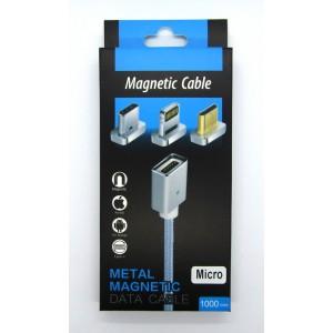 Data cable магнит micro USB металл (black)
