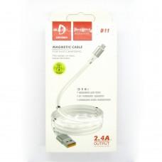 Data cable Denmen D11V micro-USB магнит (white)