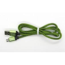 Data Cable micro-USB двухцветный ткань (black-green)
