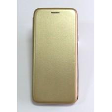 Чехол-книжка ориг кожа Samsung J6+ 2018 (gold)