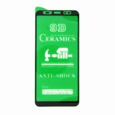 Стекло Ceramics Samsung A7 2018/J4+/J6+9D (black)