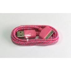 Data Cable iPhone 4 (цветной) ткань (pink)