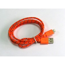 Data Cable iPhone 5 (цветной) ткань (orange)